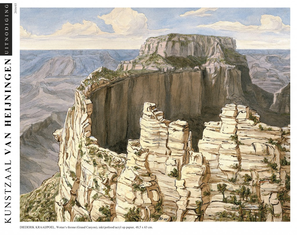 Diederik Kraaijpoel Wotan's throne (Grand Canyon) inkt/potlood/acryl op papier 48,5x63cm