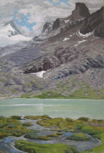 Annet Hiltermann Lac des Seracs met moerasje (boven Aosta) acryl