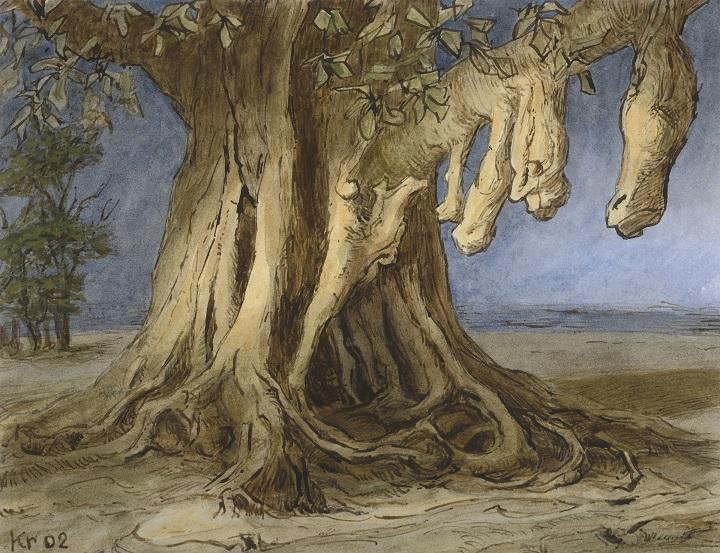 Diederik Kraaijpoel Aangroeisels (Sevilla) inkt/acryl op papier 25,5x33cm