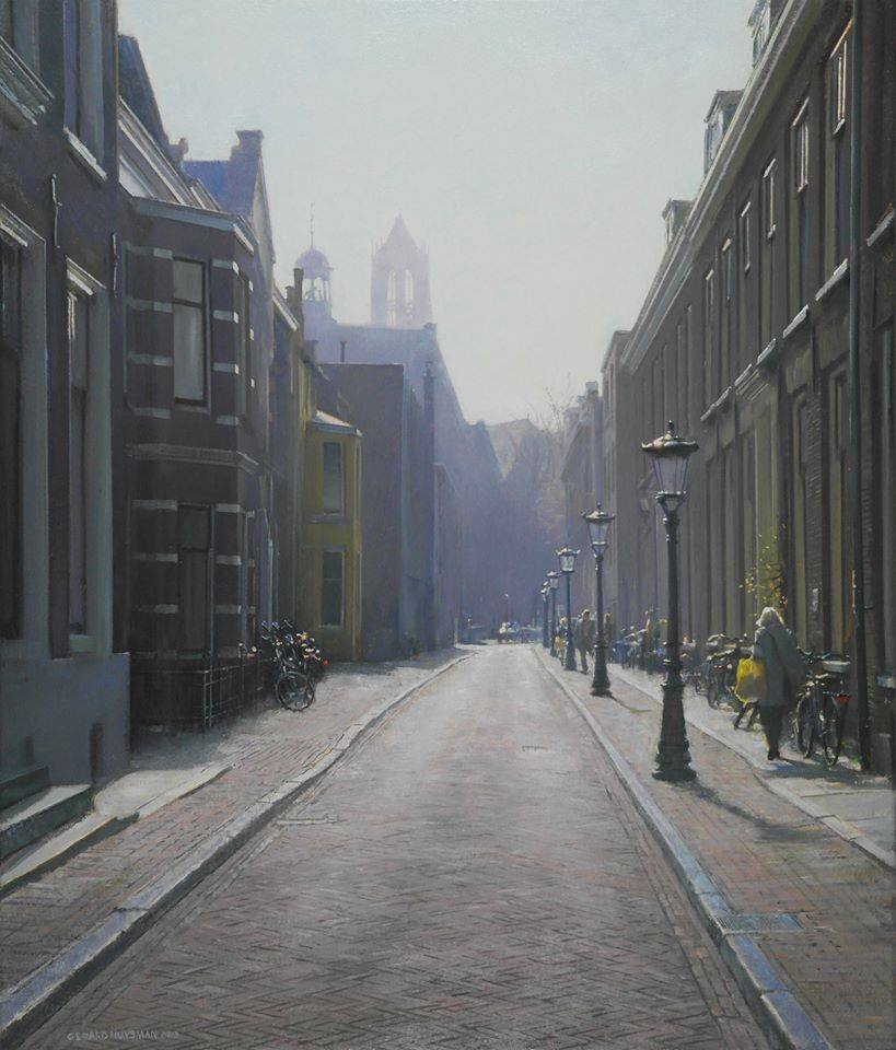 Gerard Huysman, Street in Utrecht, oil-panel