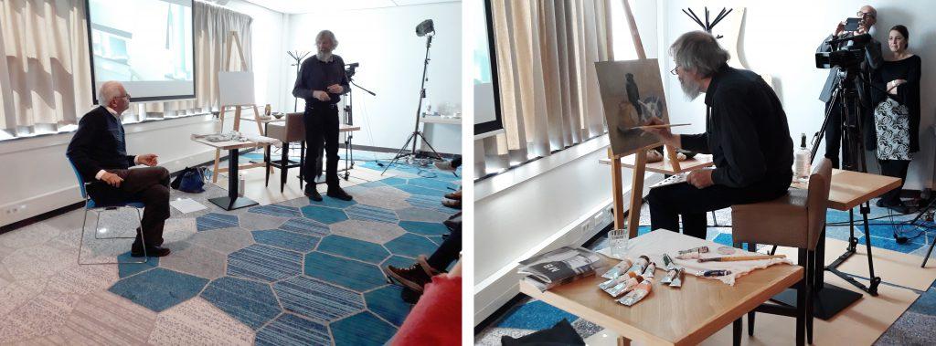 TRAC2018,The Representational Art Conference-Helmantel-demo-interpreter-Jeroen-Strengers. Henk Helmantel's demo
