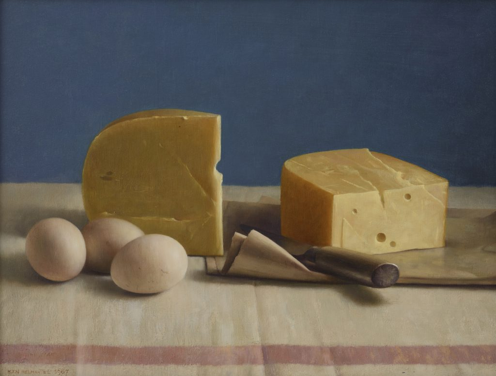 Henk Helmantel. Stillife with Cheese and Eggs