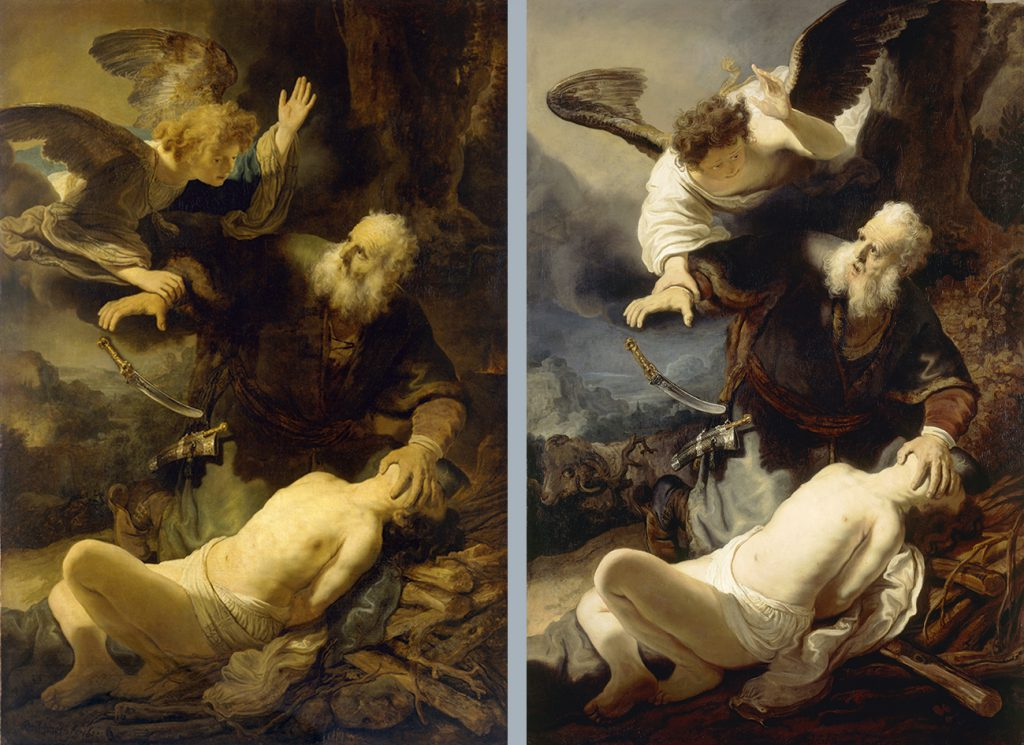 Rembrandt, Abraham's sacrifice and Unknown, Abraham's sacrifice