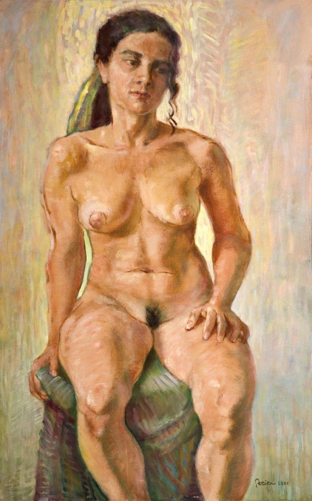 Zittende vrouw - tempera/olieverf op paneel - 80x50cm