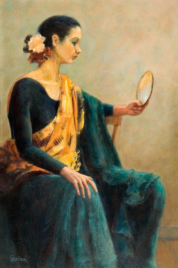 Spaanse danseres met spiegeltje - olieverf op paneel - 30x20cm