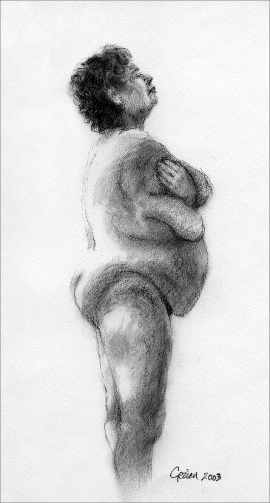 Staande vrouw, modeltekening - krijt op papier - 24x16cm