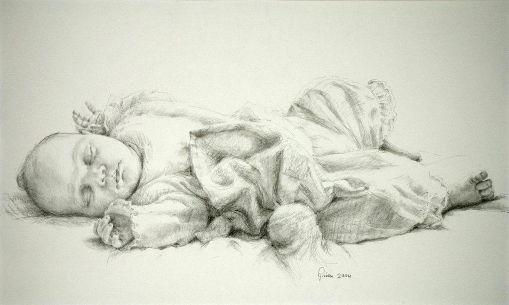 Portret Kiki - potlood op papier - 30x50cm