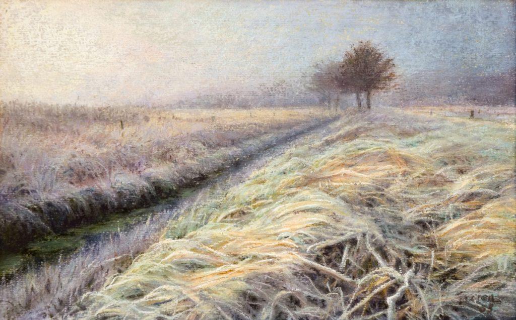 Winterlandschap, berijpt gras - tempera en pastel op papier - 16x26cm