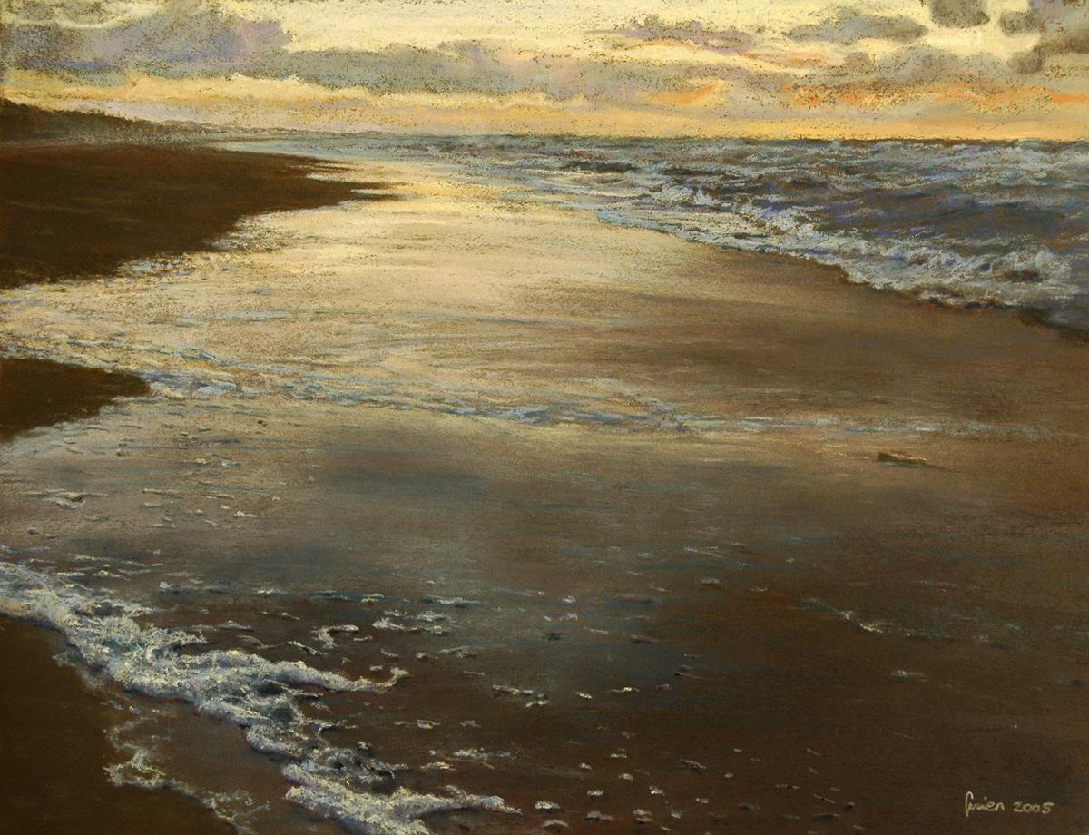 Noordzee strand bij zonsondergang in pasteltekening door Gezien van de Riet