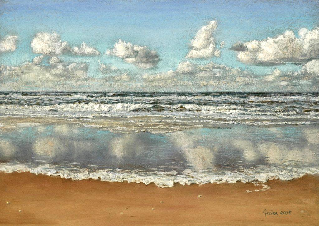 Zee rolt over strand - pastel op papier - 27x39cm