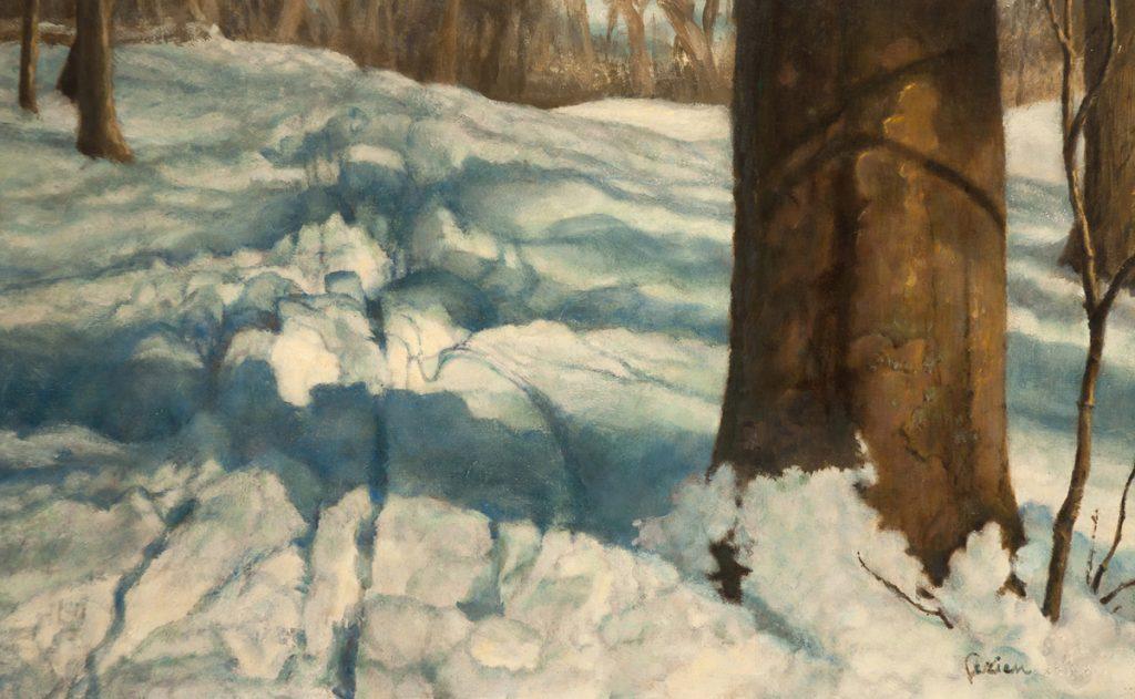 Sneeuw met sleesporen - tempera/olieverf op paneel - 25x40cm