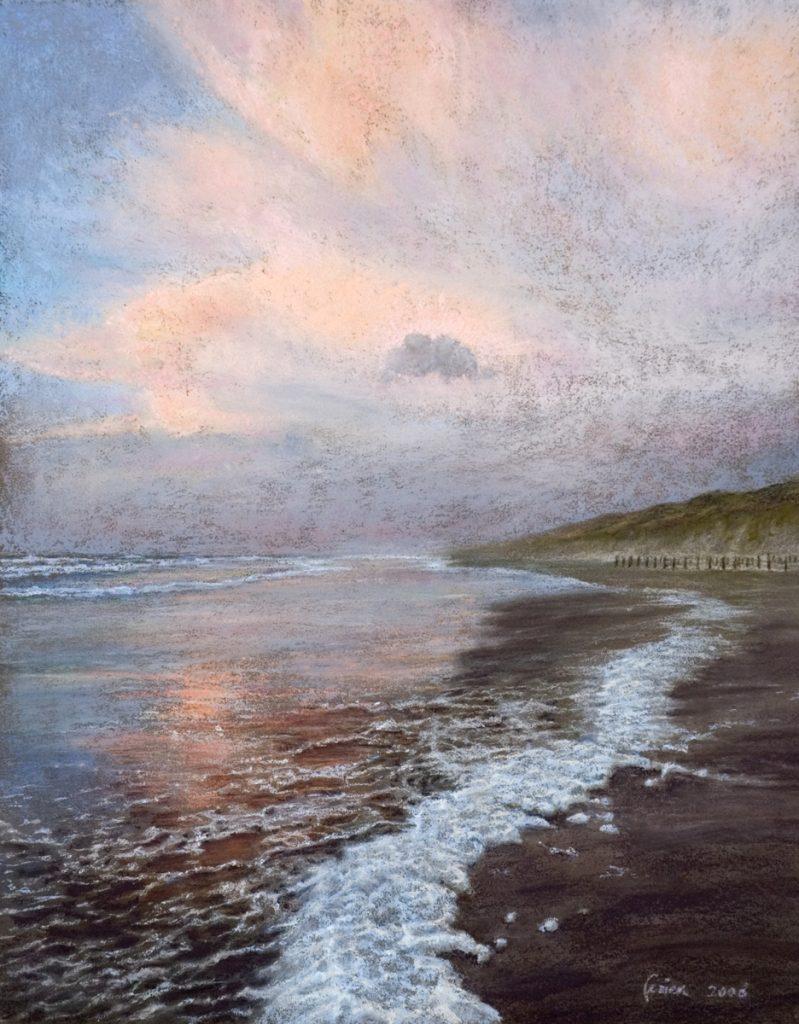 Zee, de avond valt - pastel op papier - 44x34cm