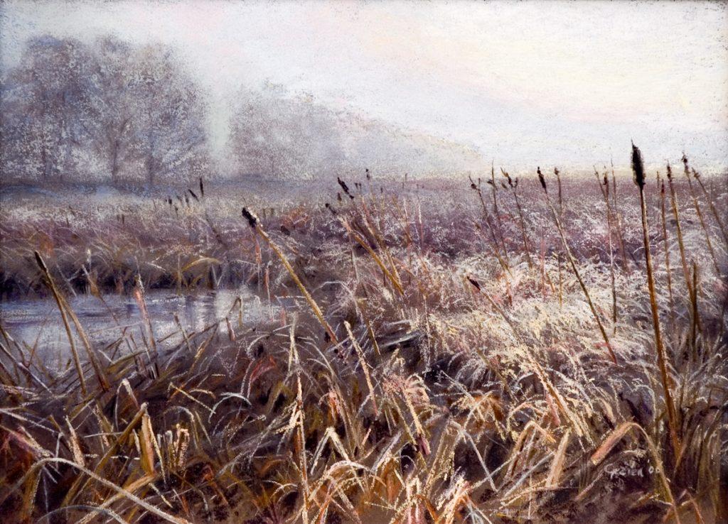 Winterlandschap, Fochtelo-er Veen, pastel op papier, 26x36cm