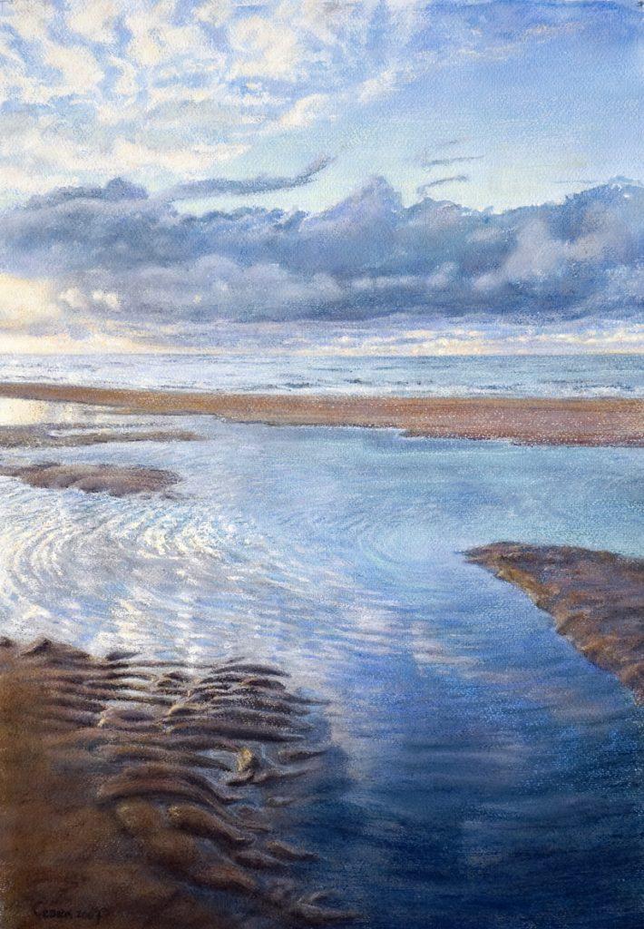 Zee, zand, wolken – waterverf en pastel op papier - 60x40cm