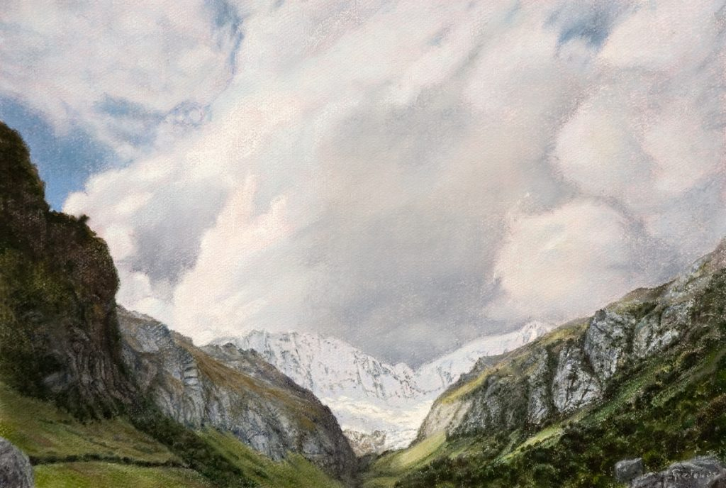 Kloof van Llaca, Andes - waterverf en pastel op papier - 40x60cm