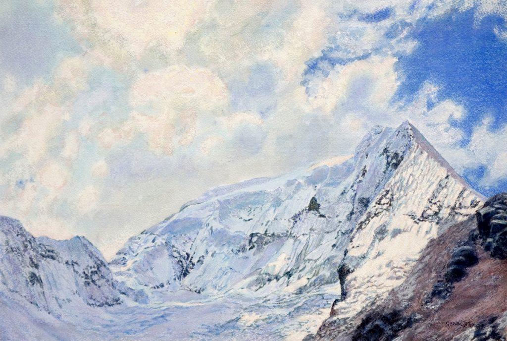 Eeuwige sneeuw, Andes, Huaraz - waterverf en pastel op papier - 40x60cm