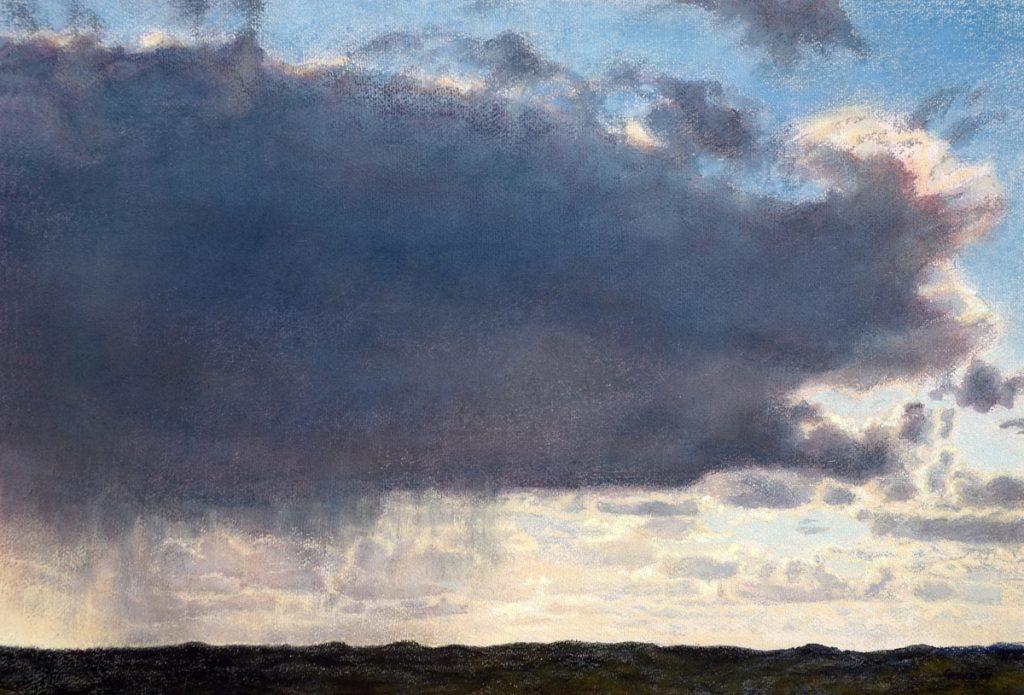 Zeppelin wolk boven duinen - waterverf en pastel op papier - 40x60cm