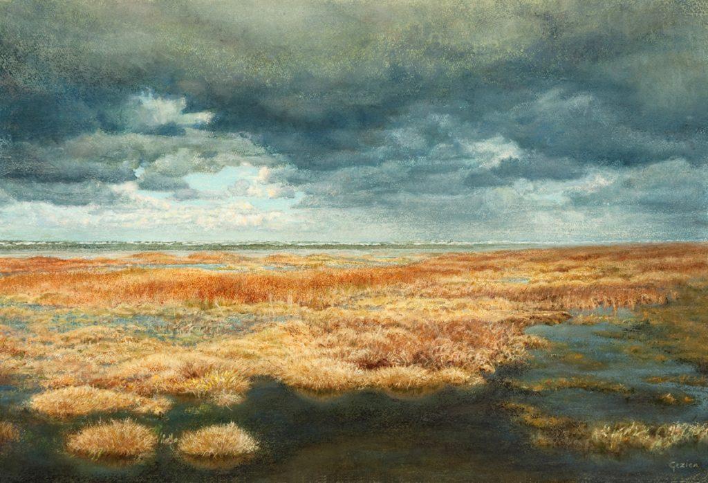 Wolkenlucht, herfst op het wad - waterverf en pastel op papier - 40x60cm