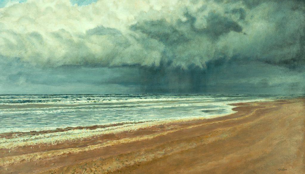 Front uit Engeland nadert onze kust – Sneeuwwolk uit Engeland nadert onze kust 2008 Caseïnetempera- en olieverf op paneel 32x55cm