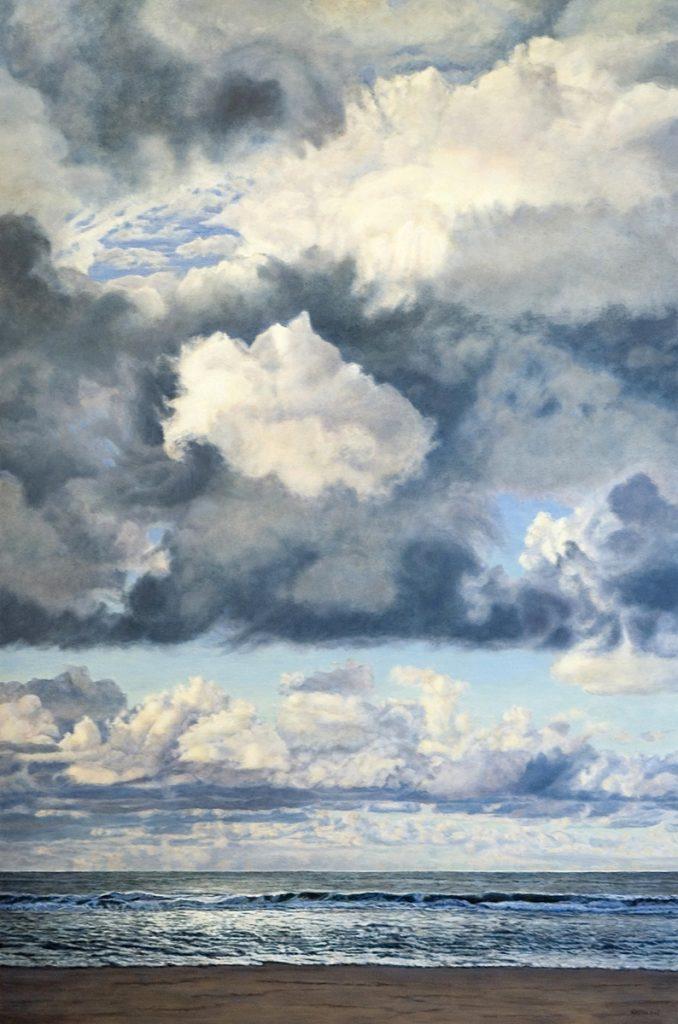 Zee met woelige wolken – alkyd/olieverf op paneel - 150x100cm