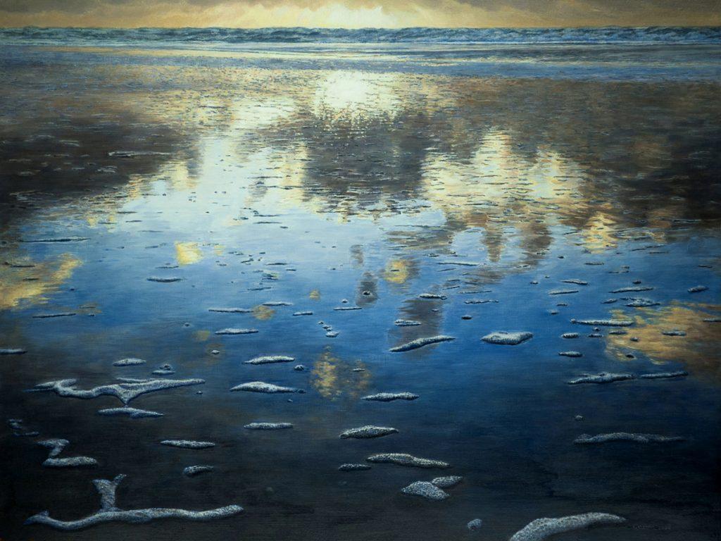 Zee spiegelt wolken – alkyd/olieverf op paneel - 60x80cm