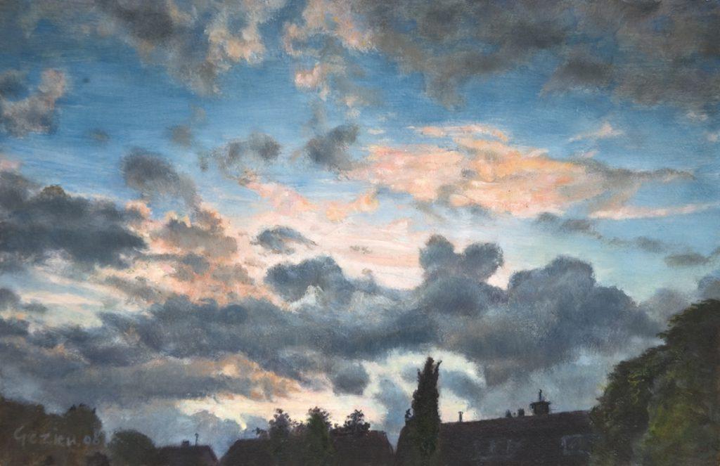 Wolkenlucht bij Leidschendam. Tempera en olieverf op paneel. 14x21cm