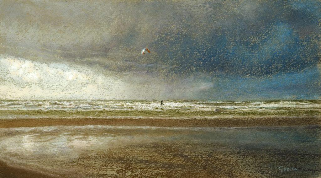 Surfen op zee in de storm - waterverf en pastel op papier - 13,5x24cm