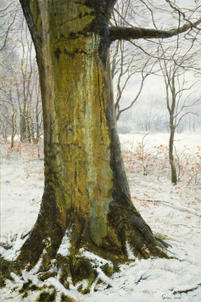 Beukenboom in besneeuwd bos 2 - tempera/olieverf op paneel - 45x30cm