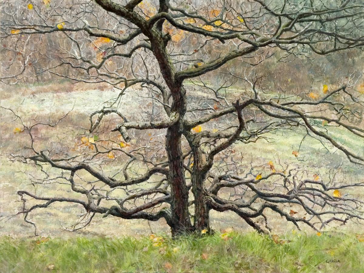 Eikenboom in de duinen, in realistisch schilderij met tempera en olieverf, gemaakt door Gezien van de Riet