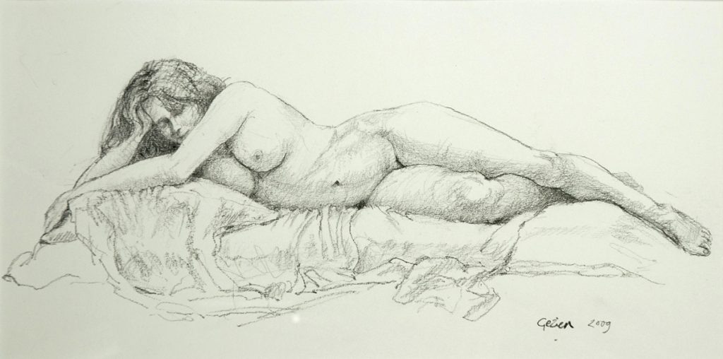 Liggend naakt - potlood op papier - 24x32cm