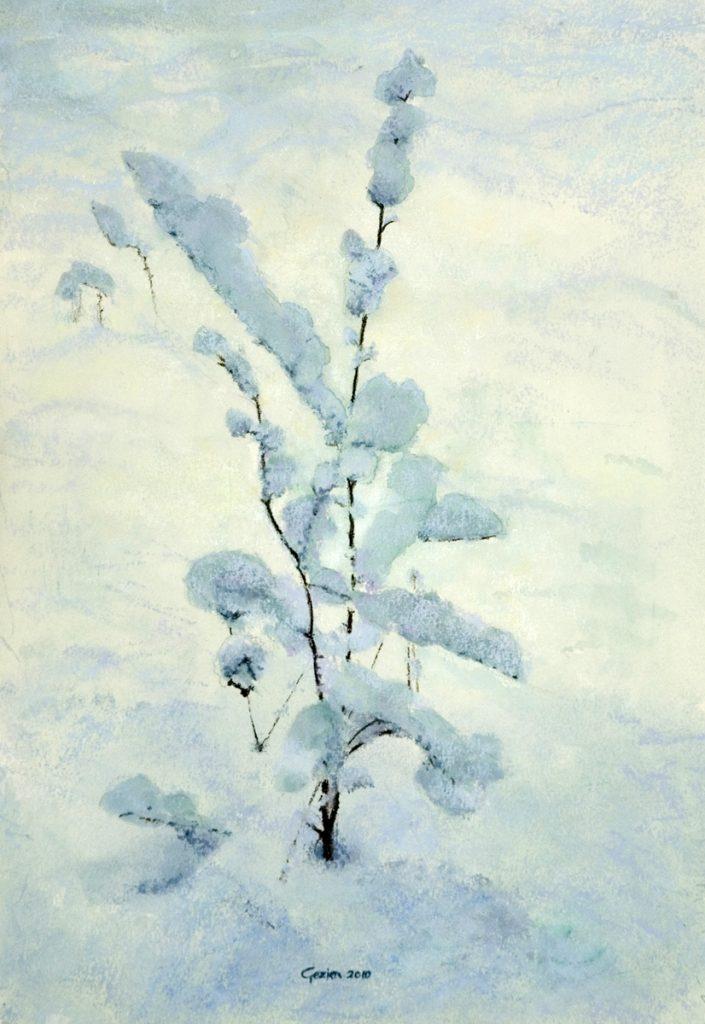 Struikje in de sneeuw - waterverf en pastel op papier - 35x25cm