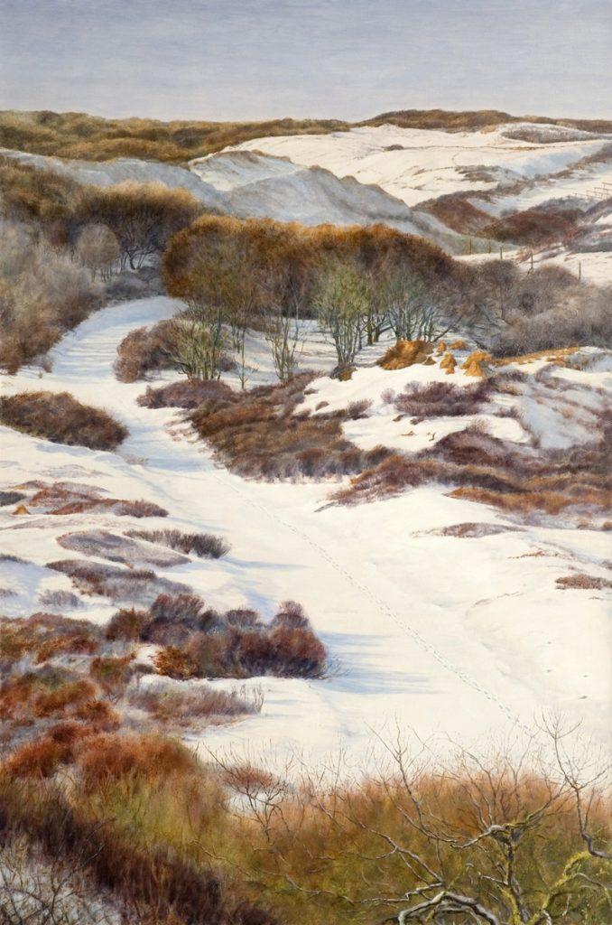 Sneeuwlandschap, duinen van Kennemerland – alkyd/olieverf op paneel - 150x100cm