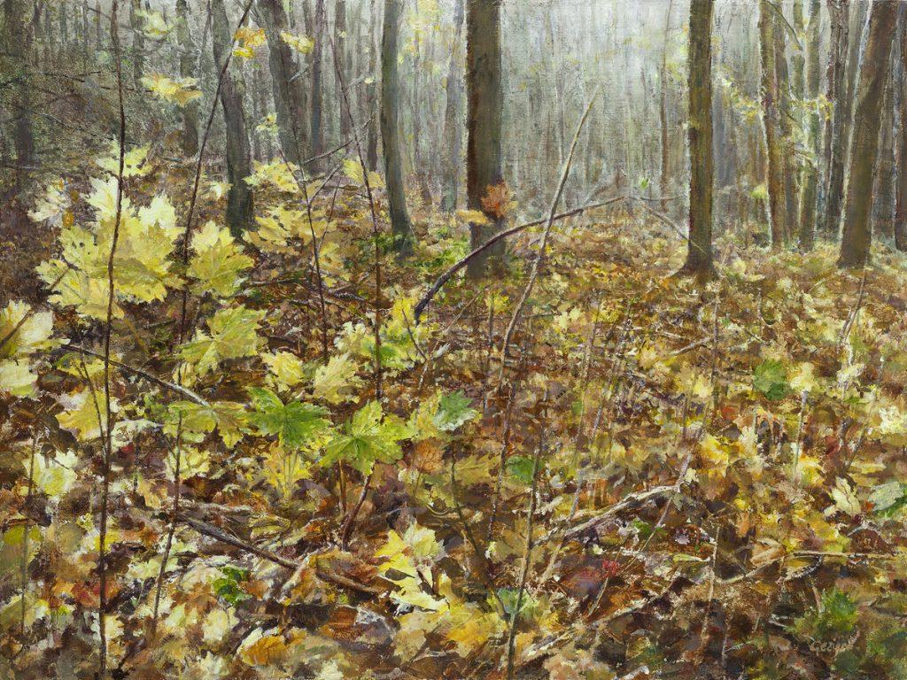 Herfstblaadjes in het bos van Castricum - tempera/olieverf op paneel - 30x40cm