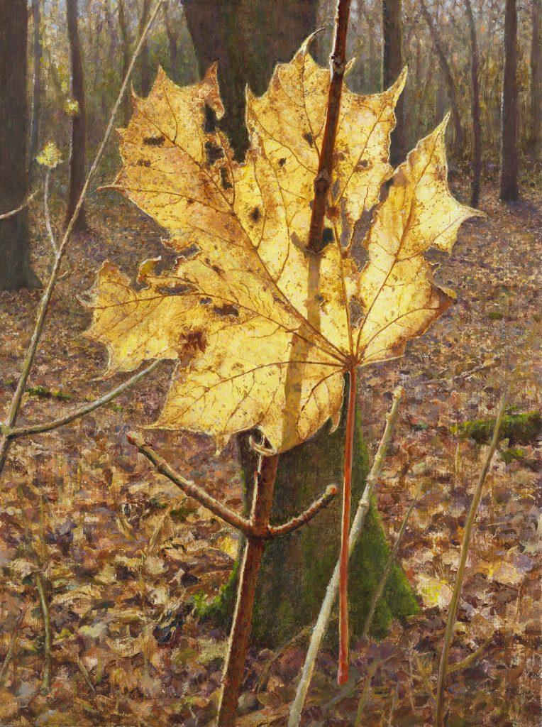 Herfst, bladgoud in het bos - tempera/olieverf op paneel - 40x30cm