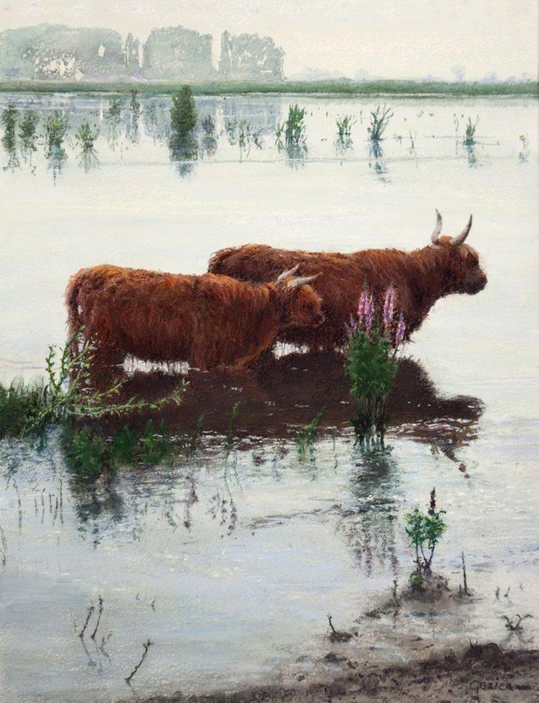 Landschap met koeien in het meer, Tiengemeten - waterverf en pastel op papier - 34x26cm