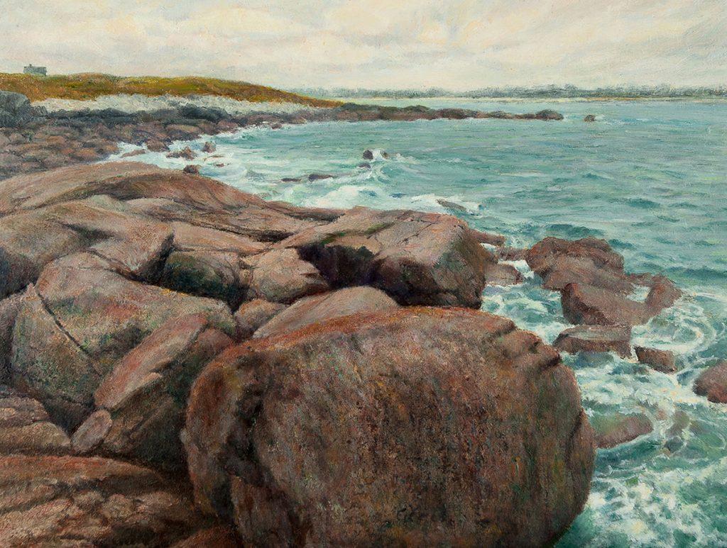 Bretagne, rotsen en zee - olieverf op paneel - 17,7x23,7cm