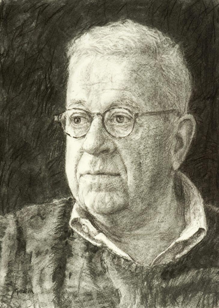 Portret van Frits Groeneveld 1 - houtskool op papier - 40x28cm