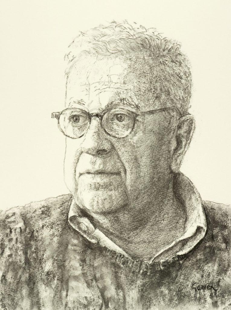 Portret van Frits Groeneveld 2 - houtskool op papier - 40x28cm