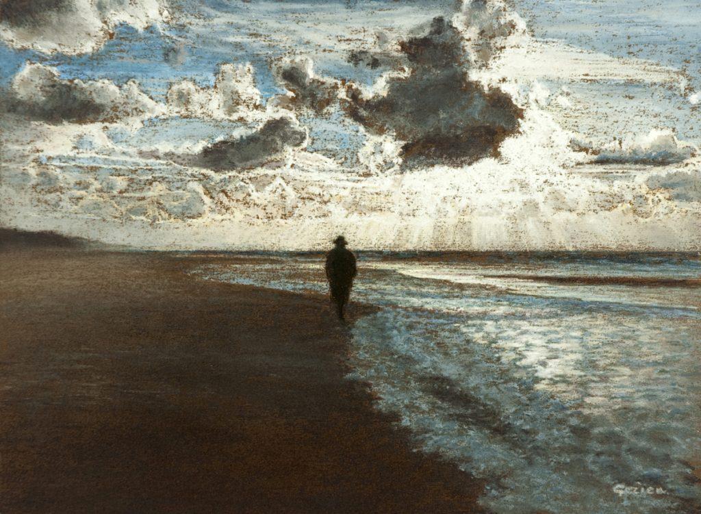 Wandelaar langs winterse kust – pastel op papier - 23x31cm