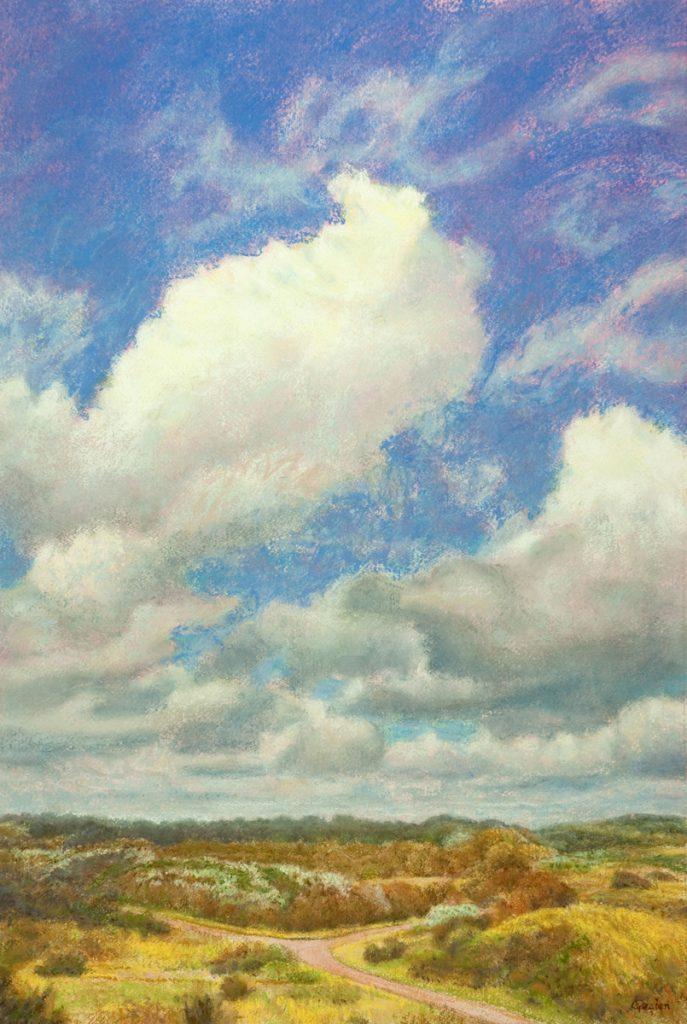 Wolken, wind en duin – pastel op papier - 60x40cm