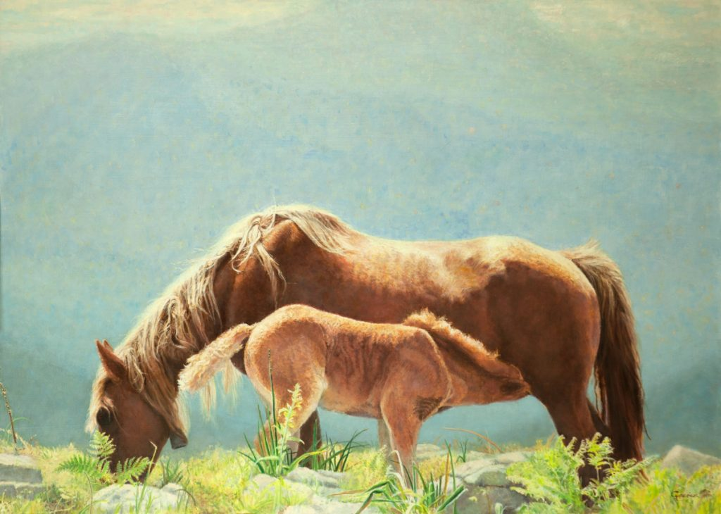De paardenhemel – alkyd/olieverf op paneel - 50x70cm