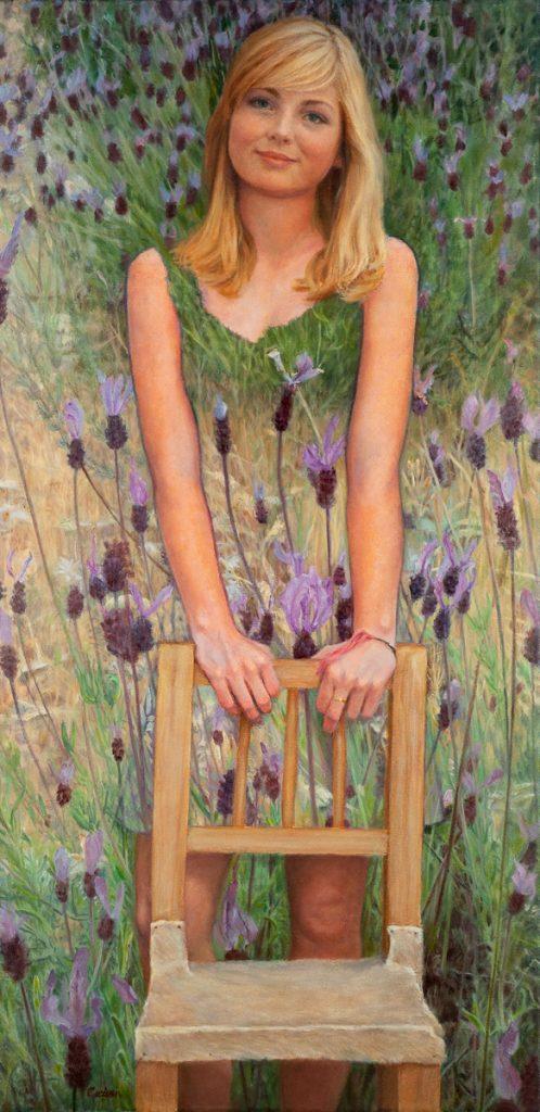 Tessa in lavendel – tempera/olieverf op canvas - 80x40cm