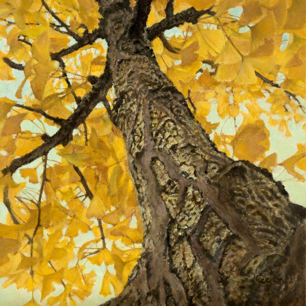 Onze gingko in de herfst – tempera/olieverf op paneel - 20x20cm