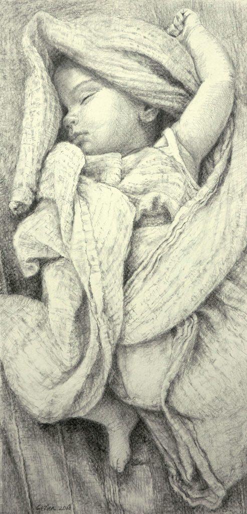 Charlie - Potlood, grafiet op papier - 41x20cm