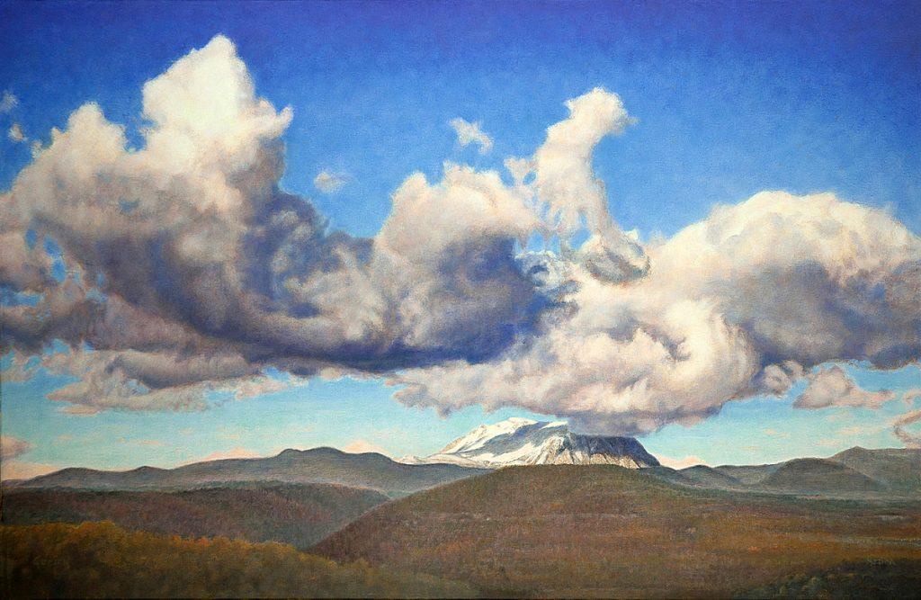 De berg Turbon met wolken