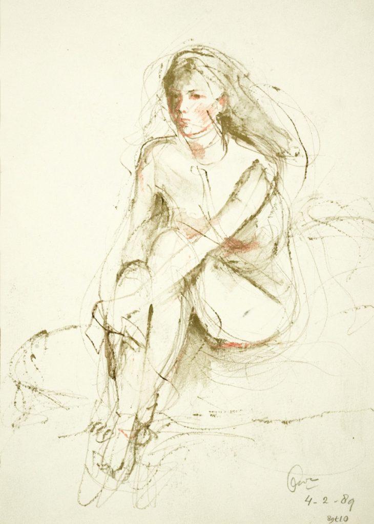 Maria Luisa in goud - aquarelpotlood op papier - 31x24cm