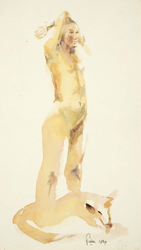 Vrouw met hond – aquarel - 29x16cm