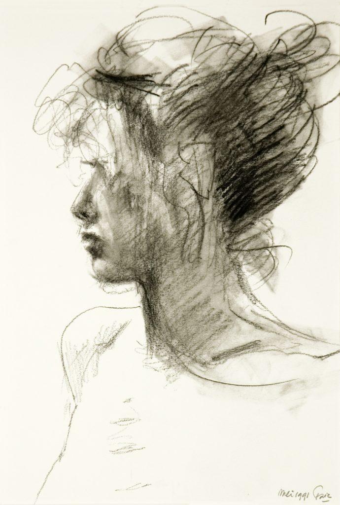 Portret in tegenlicht - grafietstift op papier - 29x20cm