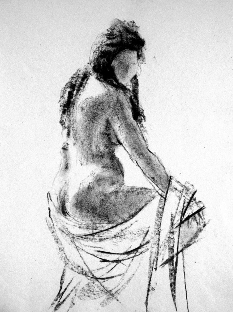Zittend naakt van opzij gezien - houtskool op papier - 31x24cm