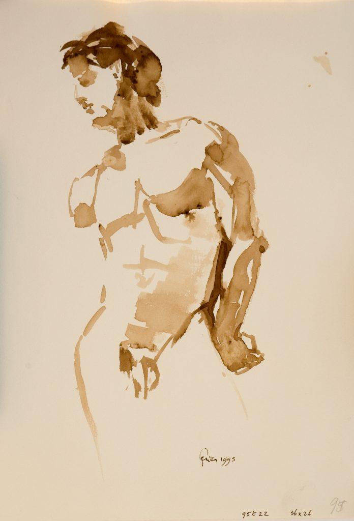 Staande man - biester op papier - 36x26cm